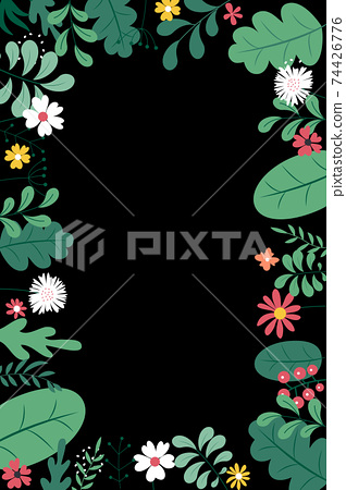 Abstract spring and summer flat simple natural background with flowers, plant and copy space for banner, greeting card, poster. Vector Illustration EPS10 74426776