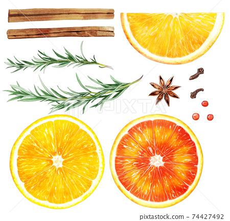 橙色香料茶素材的插圖素材 74427492