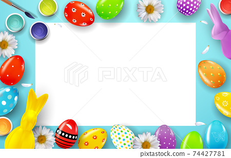 Easter poster template with 3d realistic Easter eggs and paint. Template for advertising, poster, flyer, greeting card. Vector Illustration EPS10 74427781