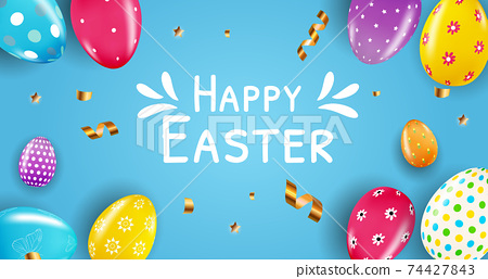 Easter sale poster template with 3d realistic Easter eggs and paint. Template for advertising, poster, flyer, greeting card. Vector Illustration EPS10 74427843