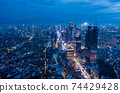 Aerial wide panoramic view of modern cityscape with high rises in the night Skyscrapers and residential neighborhoods in blue night light in Jakarta, Indonesia 74429428