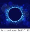 閃閃發光的藍色圓環,在深色背景上 74430145