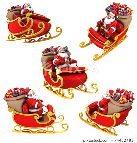 Santa Claus on sleigh with presents - various views 74432493