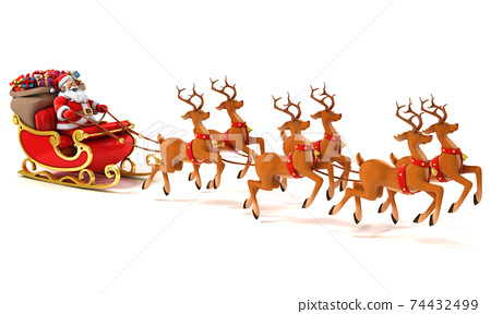 Santa Claus with sledge, deers and Christmas presents 74432499