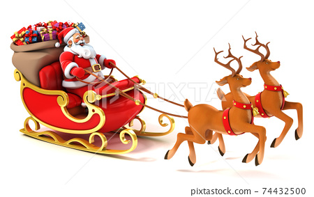 Santa Claus with sledge, deers and Christmas presents 74432500