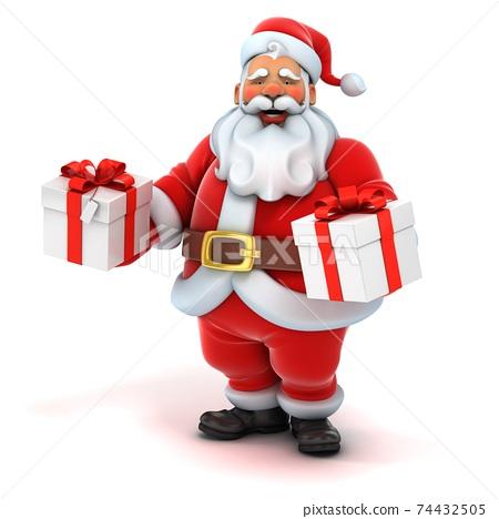 santa claus holding gift box 74432505