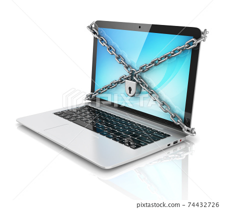 data security - laptop with padlock and chains 74432726