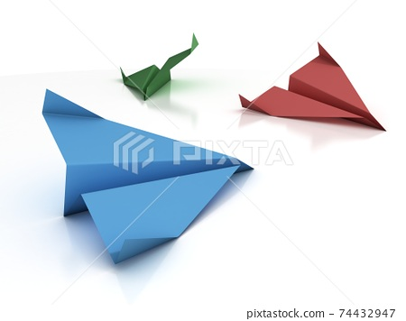 colorful paper planes 3d rendering 74432947