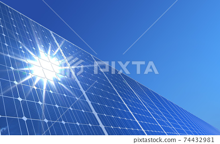 solar panels under the blue sky 3d rendering 74432981