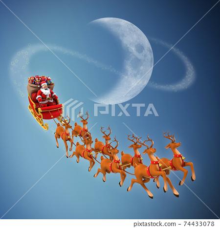 Santa Claus rides reindeer sleigh on Christmas 74433078
