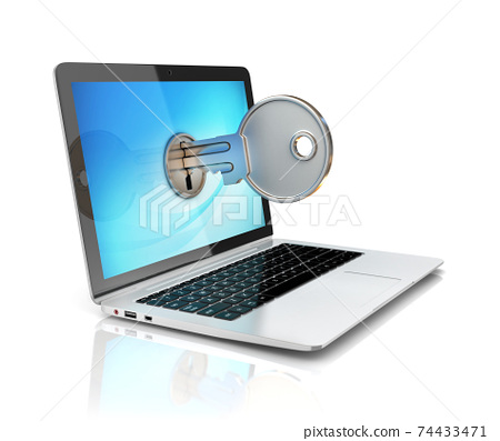 computer security 3d concept - laptop and key 74433471