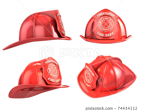 fireman helmet from various angles 3d illustration 74434112