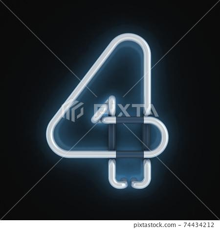 neon 3d font number 4 74434212