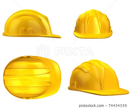 Hard hat, construction helmet from various views 74434339