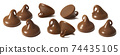 Milk chocolate drops or chips set isolated on white background 74435105