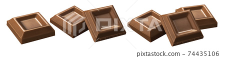 Chocolate bar pieces isolated on white background 74435106
