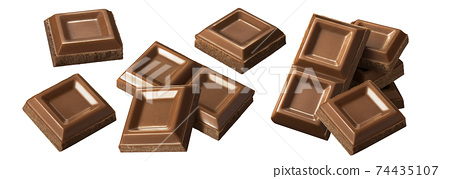 Chocolate bar pieces isolated on white background. Big set for package design. 74435107