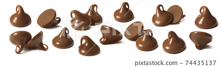 Chocolate drops or chips selection isolated on white background. 74435137