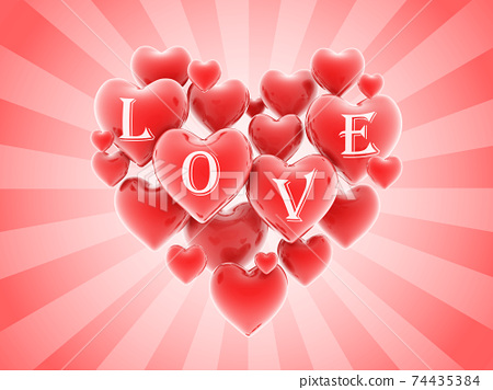 heart shaped balloons 3d background 74435384