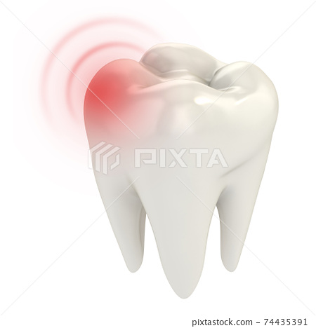 toothache 3d concept on white background 74435391
