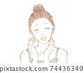對粗糙皮膚的修復感到滿意的女人的臉 74436349