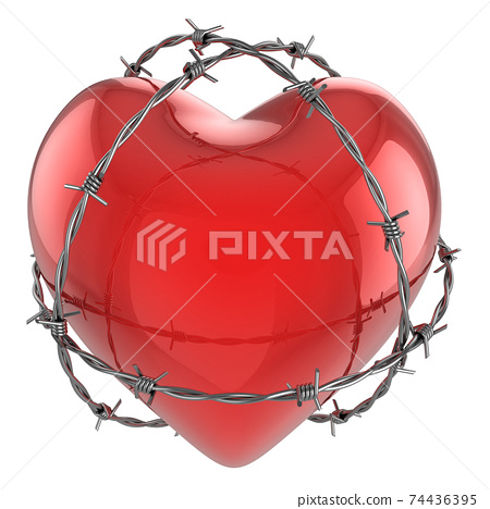 Red glossy heart surrounded by barbed wire 3d illustration 74436395