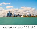 Detroit, Michigan, USA downtown city skyline 74437370