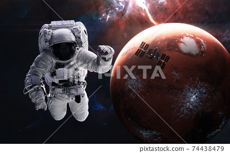 Mars. Astronaut, space station on background of inhabited red planet. Solar system. 3D render 74438479