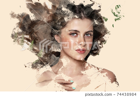 Portrait of a beautiful brunette girl showing through watercolor paints on a beige background 74438984