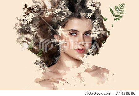 Portrait of a beautiful brunette girl showing through watercolor paints on a beige background 74438986