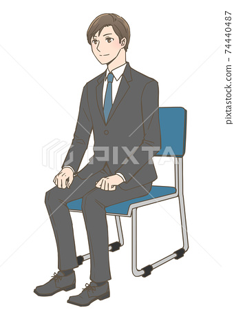 Job hunting men interviewing diagonal angles 74440487