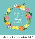 Cartoon Easter wreath with beautiful flowers and little chicks 74441472