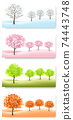 Four Nature Backgrounds with stylized trees representing different seasons - winter, spring, summer and autumn. Vector. 74443748