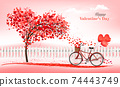A Pink  Holiday Valentine's Day background. Bicycle with a red ballons and tree with heart-shaped leaves. Vector 74443749