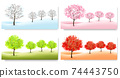 Four Nature Backgrounds with stylized trees representing different seasons. Vector. 74443750