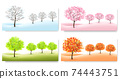 Four Nature Backgrounds with stylized trees representing different seasons. Vector. 74443751