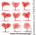 Set of Valentine's Day Holiday Inspired  Vector Trees. 74443752