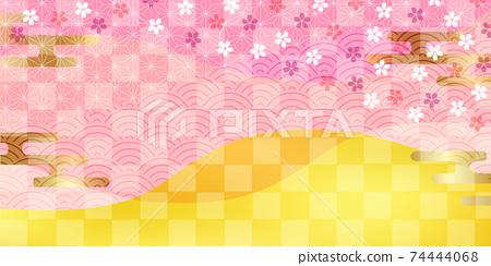 櫻花日本圖案春天背景 74444068