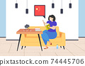 woman blogger holding dictionary vocabulary chat bubble with china flag teacher recording video with camera on tripod social media network blogging concept living room interior horizontal 74445706