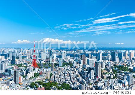 東京市中心的全景城市景觀,夏季城市景觀(東京都港區) 74446853