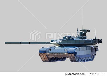 Combat modern tank. Vector image on a light background. 74450962