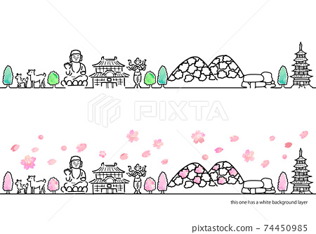 手寫的奈良春天城市景觀簡單線條藝術集 74450985