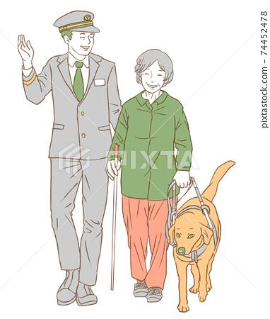車站工作人員,導盲犬和視障人士(顏色簡單) 74452478