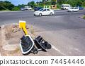 Traffic Lights Poles Accident Floored Road 74454446