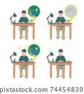 가정 학습을하는 소년 [온라인 수업 온라인 학습 · 가정 · 회선 빠짐 · 학원 · 원격] 일러스트 74454839