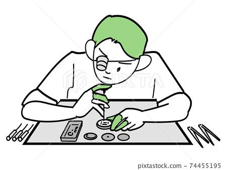精密機械維修手錶的男工匠 74455195