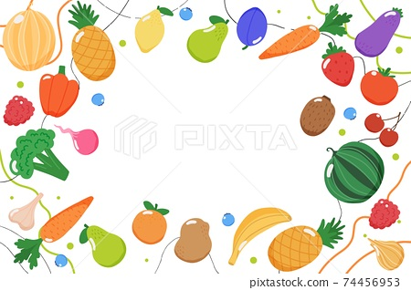 Fruits and vegetables background, illustration in flat style 74456953