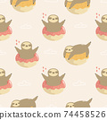 Seamless pattern with cute sloths jumping of donuts. 74458526