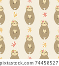 Seamless pattern with cute sloths inflower wreaths. 74458527