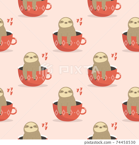 Seamless pattern with cute sloths sitting in cups. 74458530
